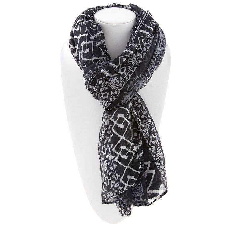 All Styles,Scarves,Scarf - Robert Matthew Harlow Aztec Print Scarf - Black
