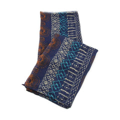 All Styles,Scarves,Scarf - Robert Matthew Harlow Aztec Print Scarf - Dark Blue