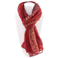 All Styles,Scarves,Scarf - Robert Matthew Harlow Aztec Print Scarf - Red