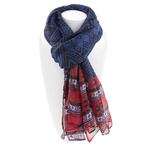 Robert Matthew Naomi Multi-Colored Tribal Print Scarf - Blue & Red