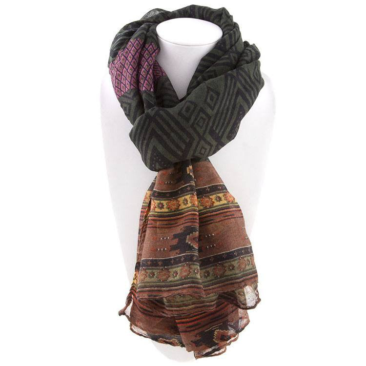 All Styles,Scarves,Scarf - Robert Matthew Naomi Multi-Colored Tribal Print Scarf - Green & Brown