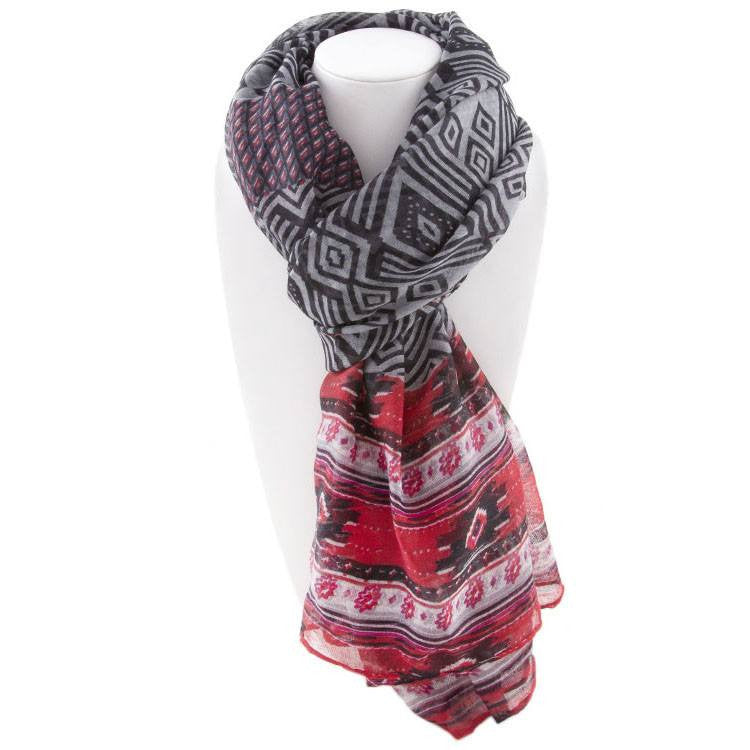 All Styles,Scarves,Scarf - Robert Matthew Naomi Multi-Colored Tribal Print Scarf - Grey & Red