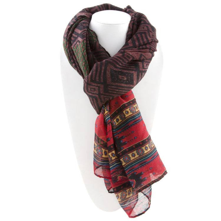 All Styles,Scarves,Scarf - Robert Matthew Naomi Multi-Colored Tribal Print Scarf - Purple & Red