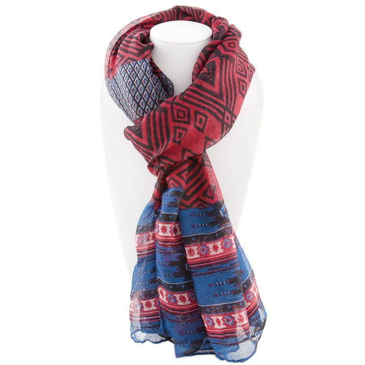 All Styles,Scarves,Scarf - Robert Matthew Naomi Multi-Colored Tribal Print Scarf - Red & Blue