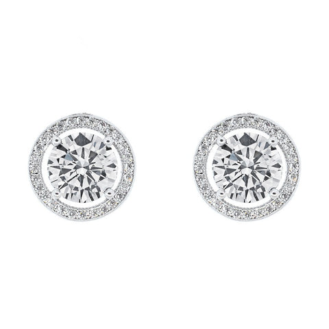 Robert Matthew Sofia 18k Gold Plated Halo CZ Stud Earrings