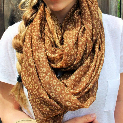 Robert Matthew Brooklyn Blossom Scarf - Mocha