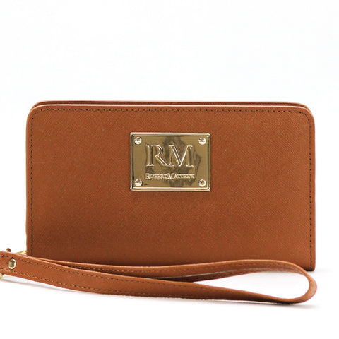 Robert Matthew Aria 24K Gold Leather Wallet Wristlet - Brown Jewel