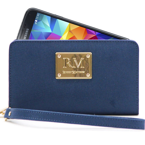 Robert Matthew Aria 24K Gold Leather Wallet Wristlet - Dark Sapphire