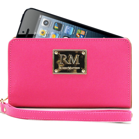 Robert Matthew Aria 24K Gold Leather Wallet Wristlet - Pink Ruby