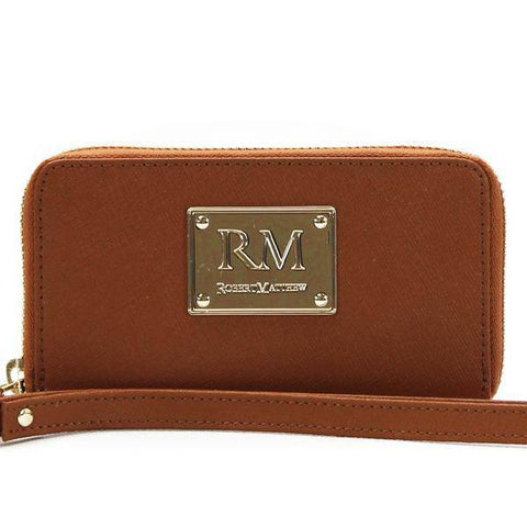 Robert Matthew Sadie 24K Gold Leather Wallet Wristlet - Brown Jewel
