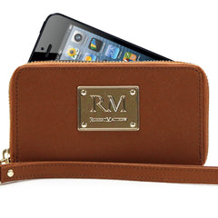 Wallet, Wristlet - Robert Matthew Sadie 24K Gold Leather Wallet Wristlet - Brown Jewel