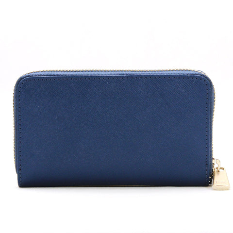 Robert Matthew Sadie 24K Gold Leather Wallet Wristlet - Dark Sapphire
