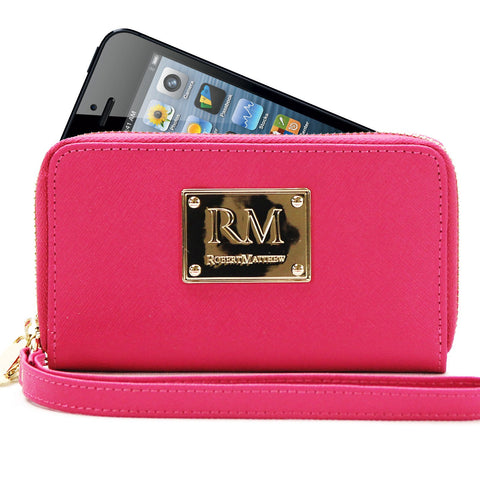 Robert Matthew Sadie 24K Gold Leather Wallet Wristlet - Pink Ruby