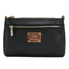 Wallet, Wristlet - Robert Matthew Sofia 24K Gold Leather Shoulder Clutch - Black Diamond