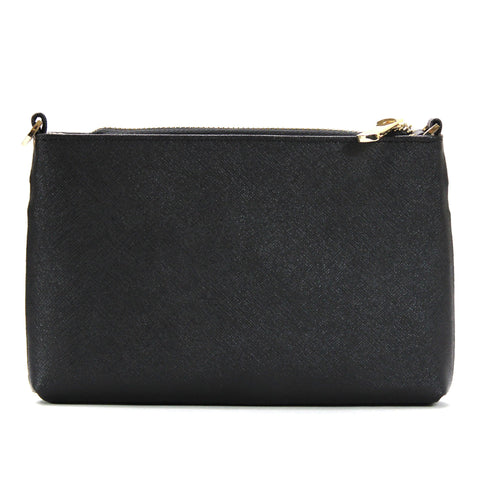 Robert Matthew Sofia 24K Gold Leather Shoulder Clutch - Black Diamond