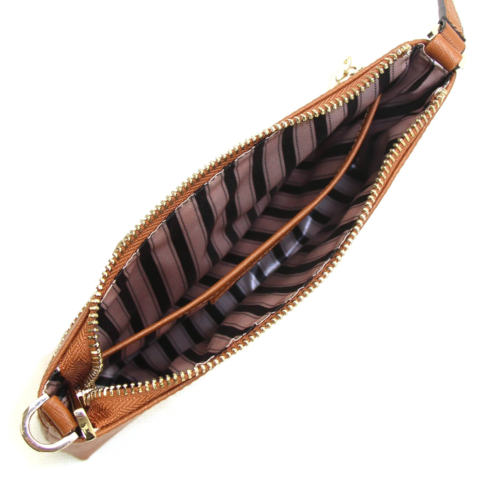 Wallet, Wristlet - Robert Matthew Sofia 24K Gold Leather Shoulder Clutch - Brown Jewel