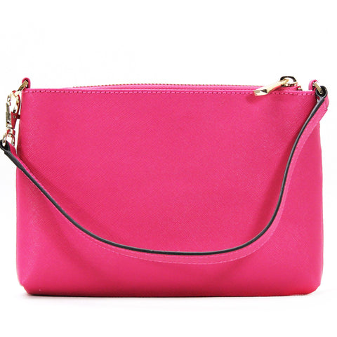 Robert Matthew Sofia 24K Gold Leather Shoulder Clutch - Pink Ruby