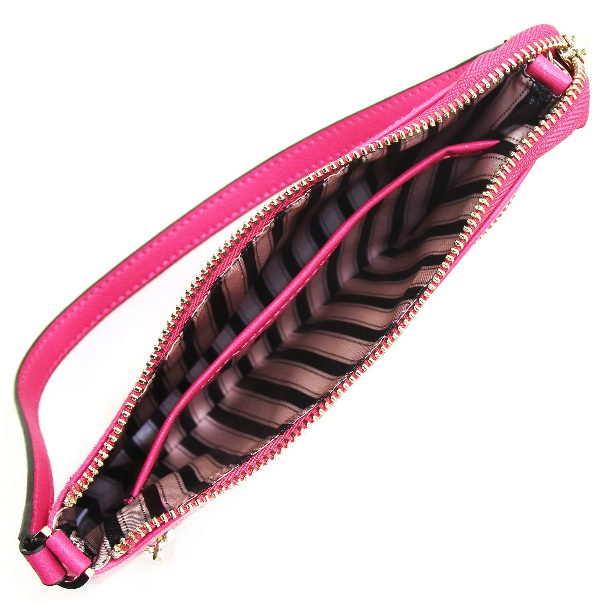 Wallet, Wristlet - Robert Matthew Sofia 24K Gold Leather Shoulder Clutch - Pink Ruby