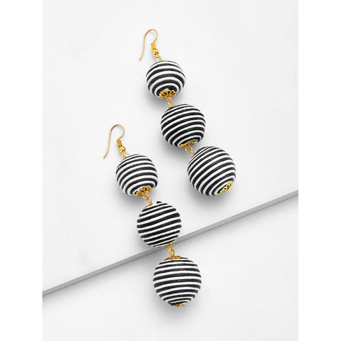 SHEIN - Striped Pom Pom Drop Earrings II Onyx Creative