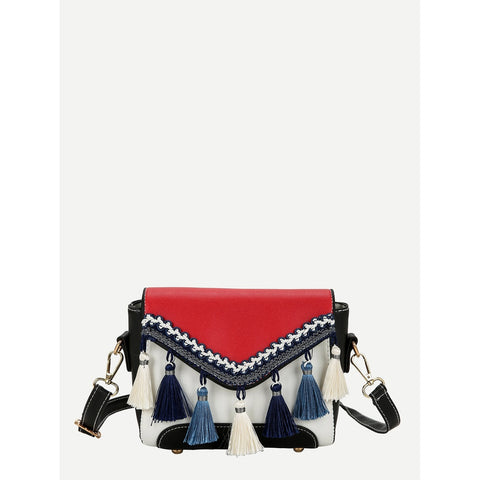 SHEIN - Tassel Detail Flap Shoulder Bag II Onyx Creative