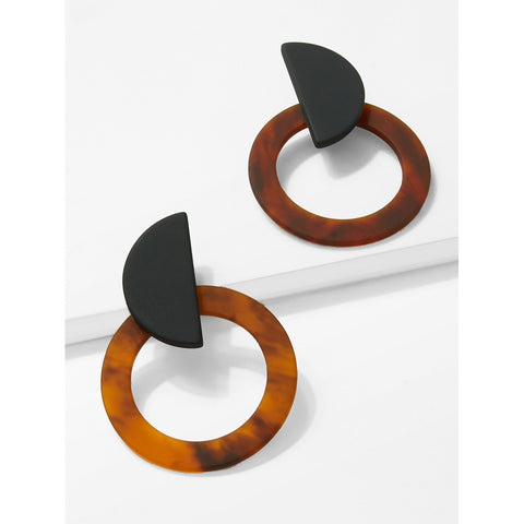 SHEIN - Marble Pattern Hoop Earrings II Onyx Creative
