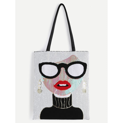 SHEIN - White Sequin Girl Cute Tote Bag II Onyx Creative