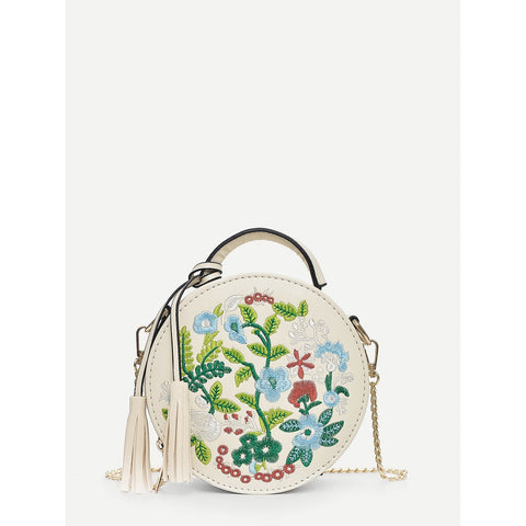 SHEIN - Floral Embroidered Crossbody in White II Onyx Creative