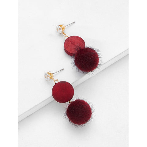 SHEIN - Rhinestone Top Pom Pom Decorated Drop Earrings II Onyx Creative