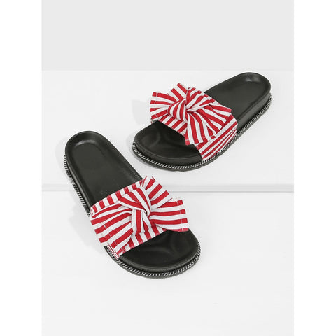 SHEIN - Bow Decor Slide Slippers II Onyx Creative