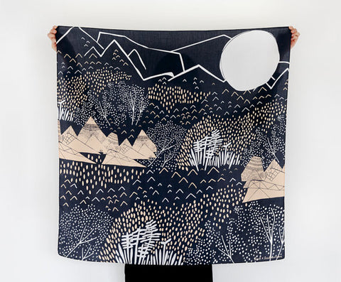 The Link Collective - Mountain Blossom Furoshiki Scarf II Onyx Creative