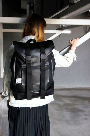 Inga Skripka - Black Unisex Leather Backpack II Onyx Creative