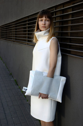 Inga Skripka - White Leather Clutch II Onyx Creative