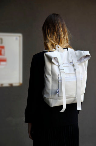 Inga Skripka - White Unisex Leather Backpack II Onyx Creative
