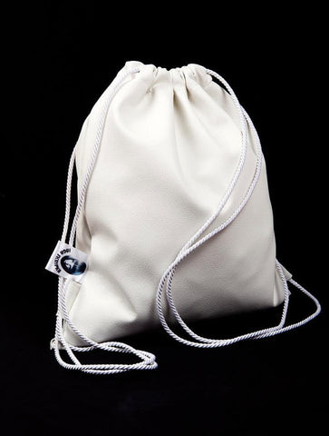 Inga Skripka - White Leather Backpack II Onyx Creative