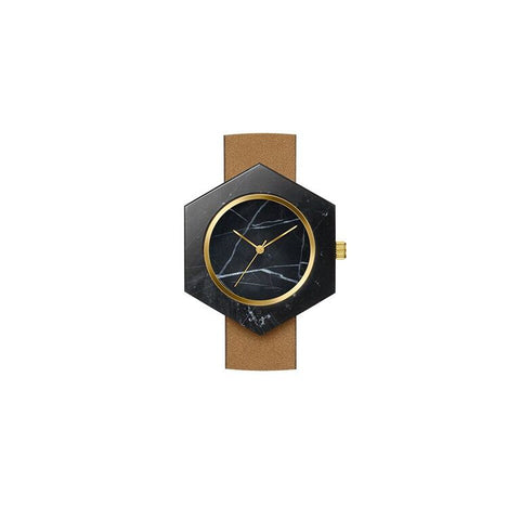 Analog Watch Co - Black Marble Hex Body Watch II Onyx Creative