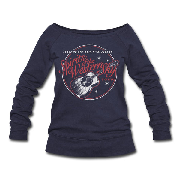 Justin Hayward Spirits Of The Western Sky Tour Womens Wideneck Sweatshirt