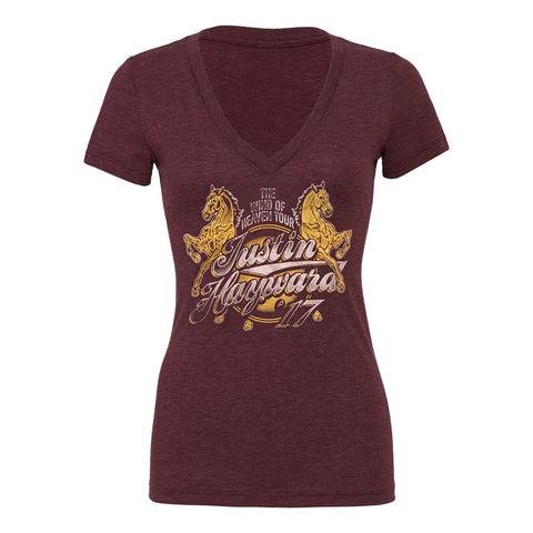 Wind of Heaven Women's Dark Red V Neck