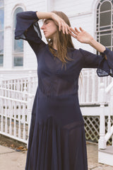 1920s Navy Sheer Chiffon Dress | S