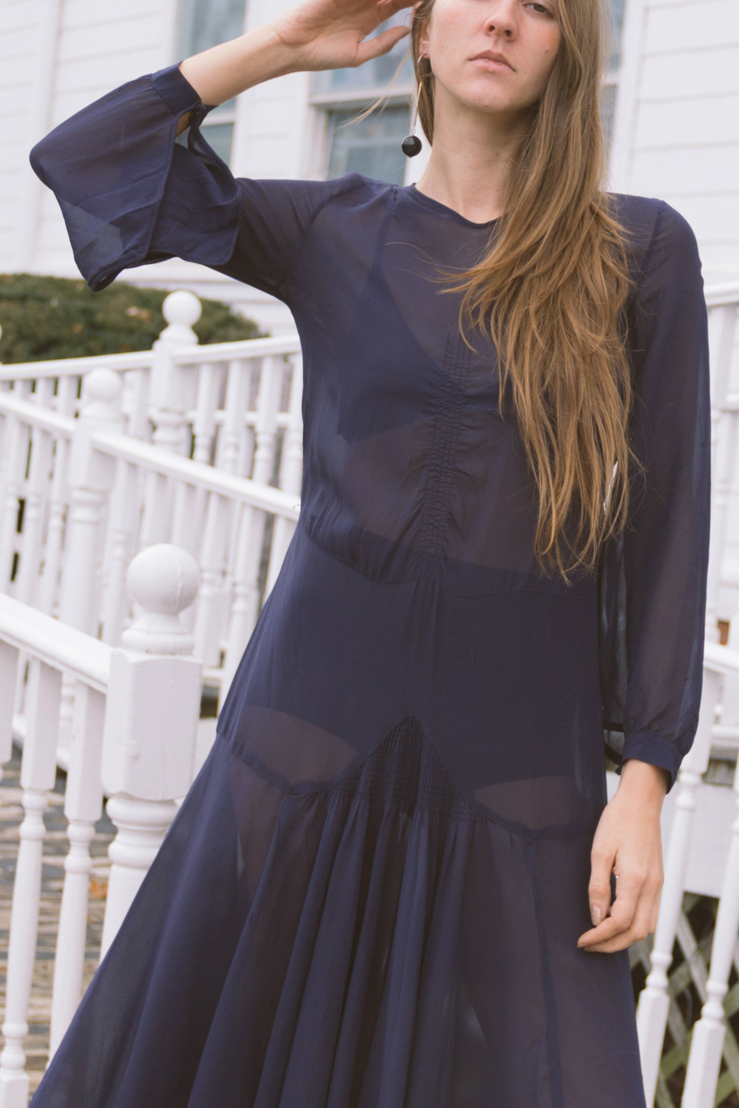1920s Navy Sheer Chiffon Dress