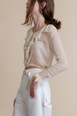 1920s Silk Chiffon Ruffled Blouse | XS