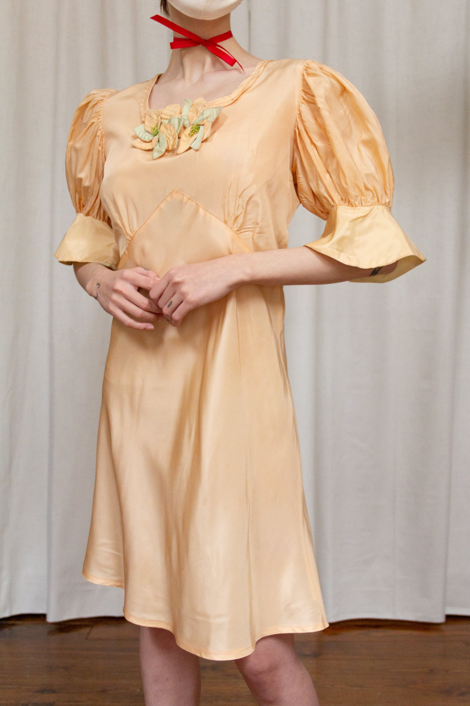 1930s Peach Georgette Tea Dress
