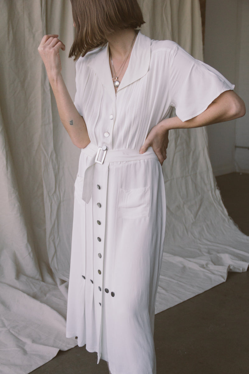 1930s Rayon + Mother of Pearl Dress