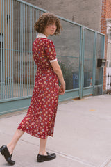 1940s Sheer Chiffon Floral Dot Dress | S