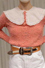 1950s Cream Cotton Eyelet Collar
