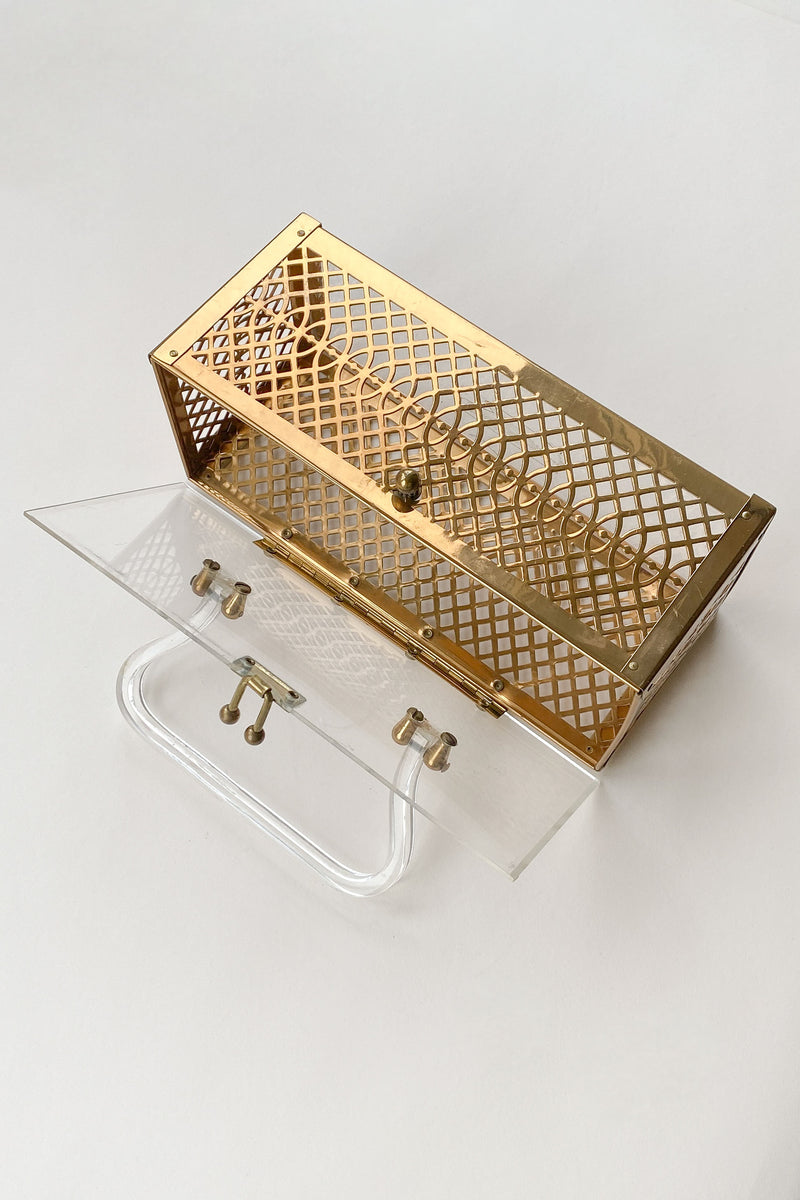 1950s Gold Lattice Lucite Box Purse