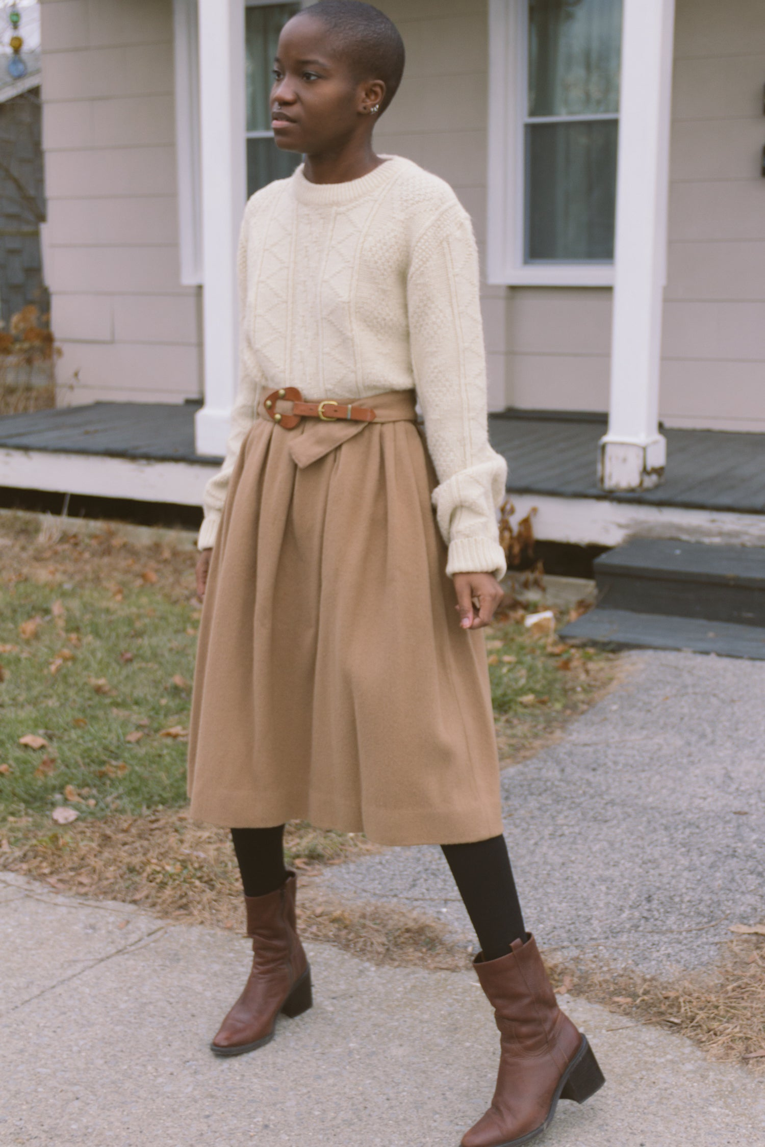 1950s Camel Wool + Cashmere Belted Skirt