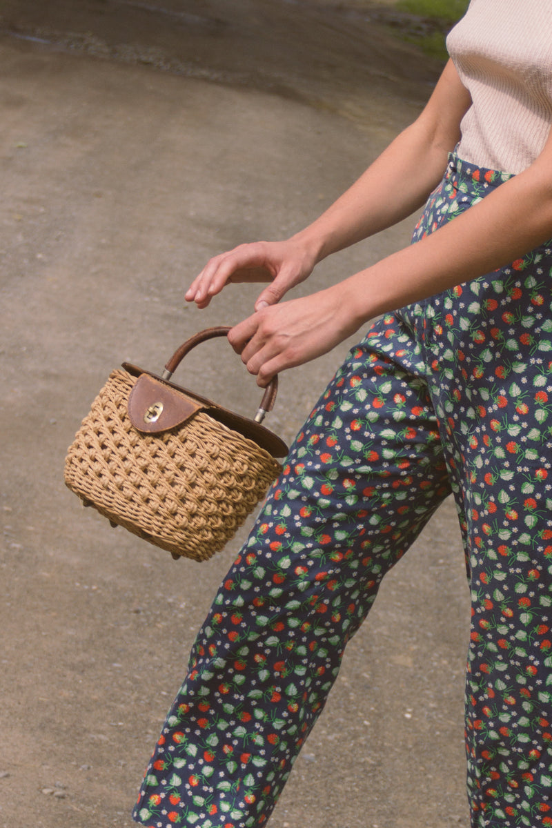 1950s Italian Wicker Basket Purse