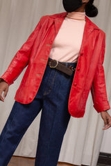1960s Tomato Red Leather Jacket