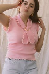 1960s Baby Pink Ribbed Sailor Top