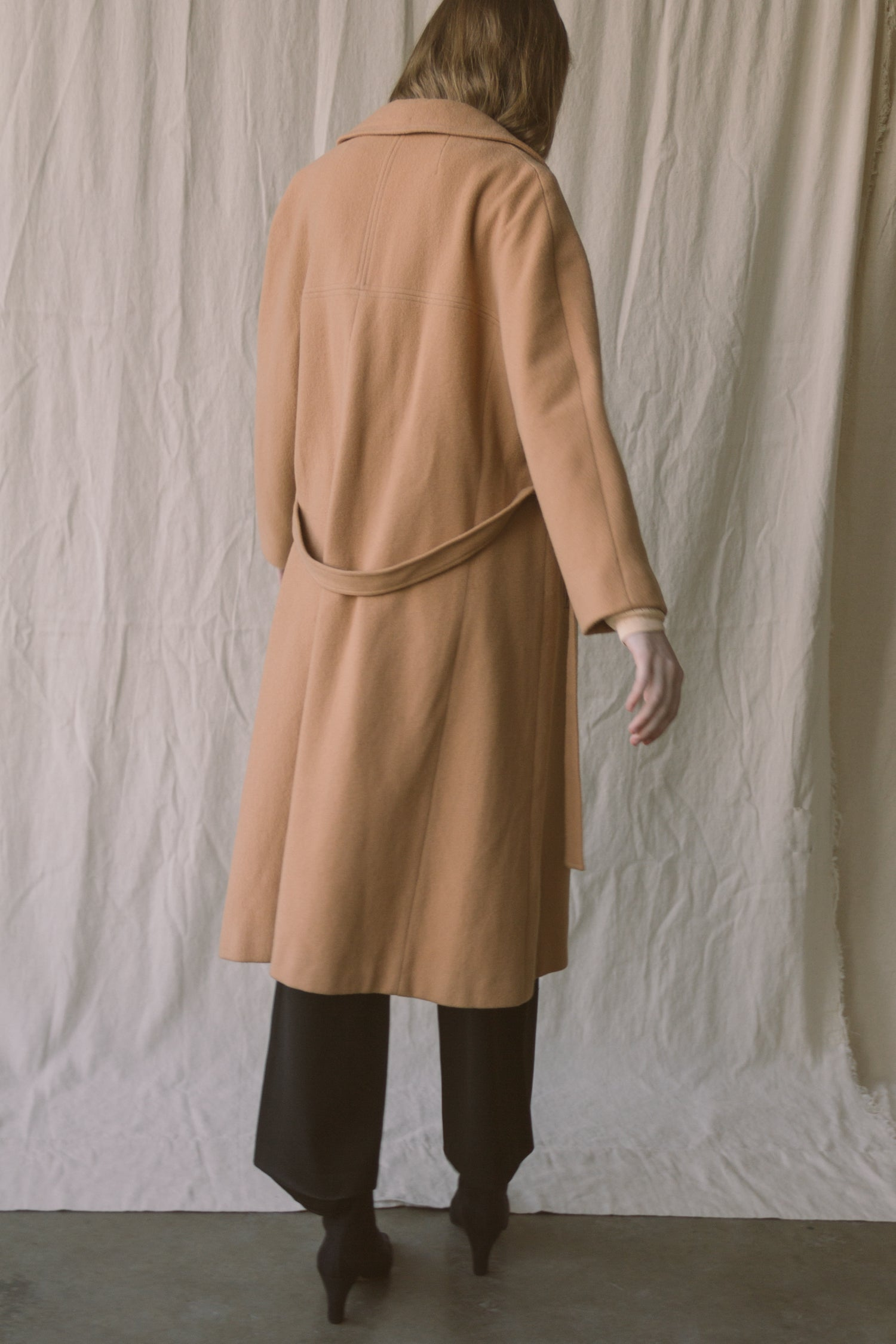 1960s Camel Wool Belted Overcoat